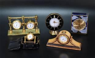 5 Separate Desk Clocks; 3 Quartz, 1 with 2 Faces