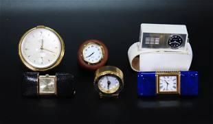 6 Desk Clocks 2 Pocket Watches Mid Century Modern