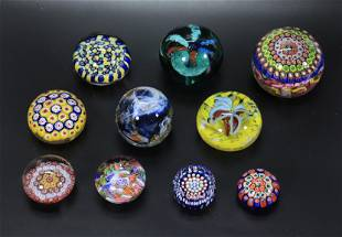 10 Cane Enclosed & Blown Glass Paperweights