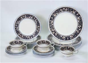 Pt Wedgwood Florentine Pattern Porcelain Bone Set