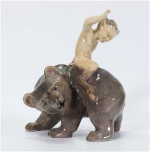 Royal Copenhagen Porcelain Faun Riding Bear #976