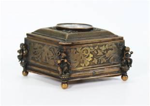 Italian 19C Pietra Dura & Bronze Lozenge Jewel Box