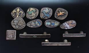 12 Mid-Century Modern Silvered Bronze Drawer Pulls