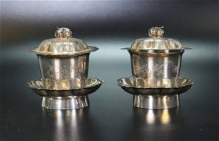 Pair Chinese Silver Incised Teacups Covers Stands