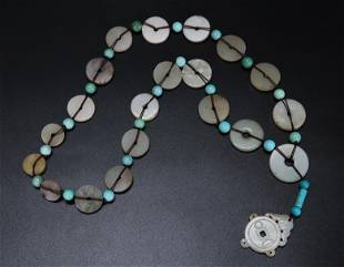 "Chinese Ming/Qing White Jade ""Bi"" Disk Necklace"