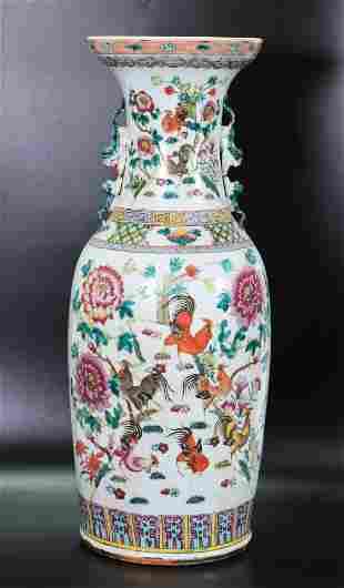 Lg 19th C Chinese Porcelain Rooster Flower Vase