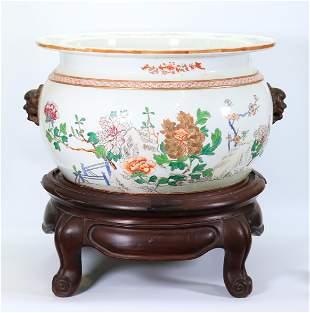 Large Famille Rose Porcelain Planter Lion Handles