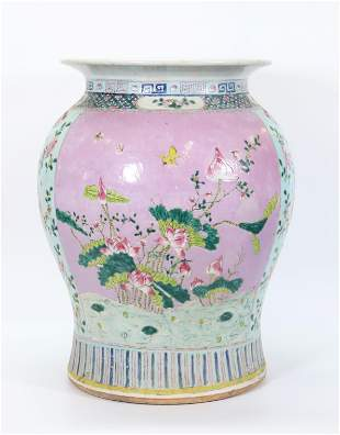 Chinese 19 C Jar Shaped Porcelain Garden Seat