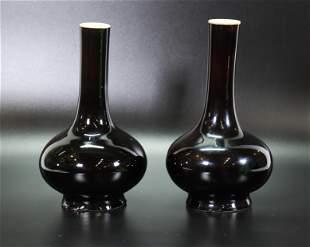Pair Chinese Mirror Black Glazed Porcelain Vases