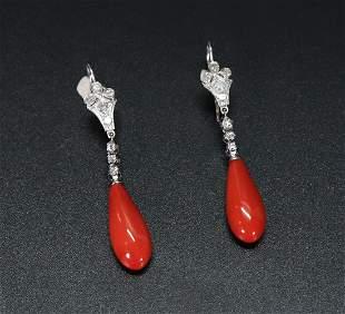 Pr Chinese Dark Coral Earrings Platinum & Diamonds