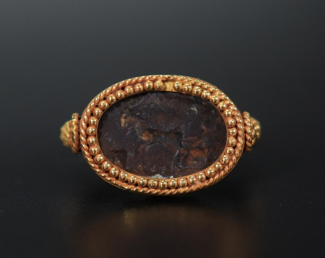 Greco-Roman Bronze Horse Intaglio Ring; 18K Mounts