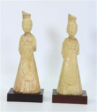 2 Chinese Tang Dynasty Straw Glaze Standing Ladies