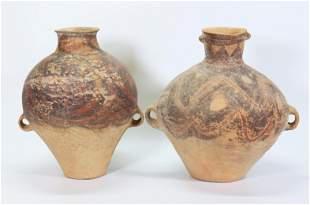 2 Chinese Neolithic Terra Cotta Storage Jars