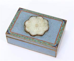 Chinese Ming White Jade Flower in Cloisonne Box