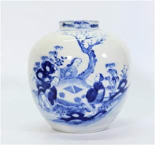 Chinese Qing Blue & White Porcelain Ladies Vase