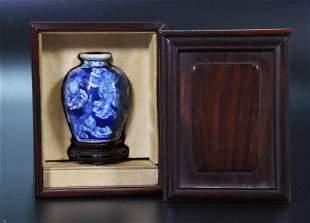 Chinese 19 C Blue White Miniature Porcelain Vase