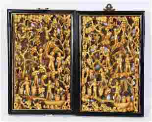 2 Chinese Cultural Revolution Gold Lacquer Panels