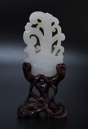 Chinese White Jade Duck & Water Plant Pendant