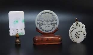 2 Chinese White Jade Pendants; 1 Jadeite Plaque