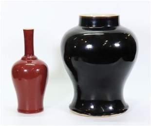 2 Chinese Qing Monochromes; Black Jar Red Vase