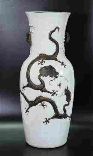 Large 19 C Chinese Crackle & Brown Porcelain Vase