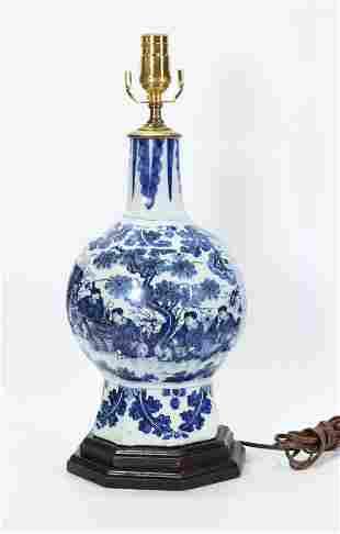 Dutch Delft 17th C Blue White Faience Bottle Vase