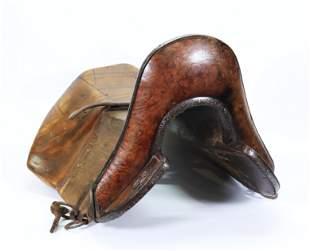 Tibetan Wood Saddle: Iron Trim Silver Wire Inlay