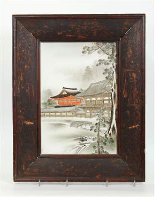 Chinese Porcelain Plaque of Temple Compound