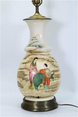 Chinese Qixi Immortal Ox Herder Ceramic Lg Vase