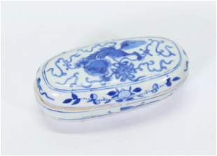 Chinese Blue & White Oval Porcelain Scholar's Box