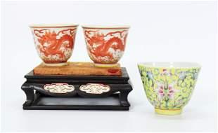 3 Chinese Porcelain Teacups; Pr Dragon, 1 Yellow