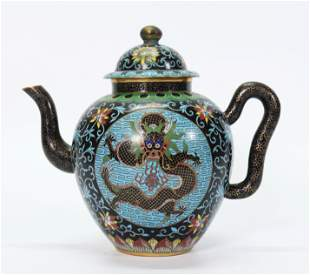 Chinese Qing Cloisonne on Bronze Dragon Teapot