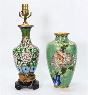 2 - Chinese Cloisonne & Bronze Vases