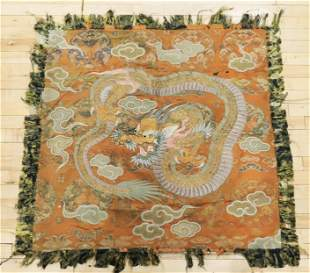 Chinese Silk Embroidered Dragon; Brocade Ground