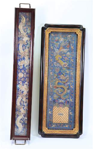 2 Chinese Qing Dynasty Gold Dragon Embroideries