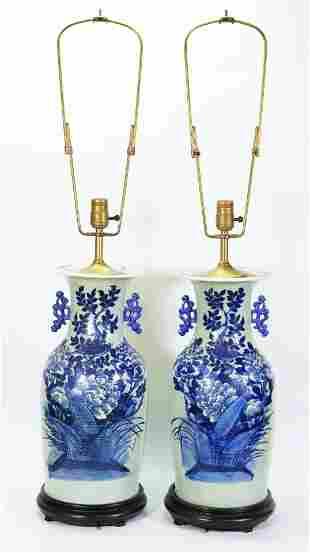 Pr Chinese 19 C Blue White Celadon Porcelain Vases