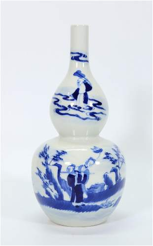 Chinese Qing Blue & White Porcelain Baxian Vase