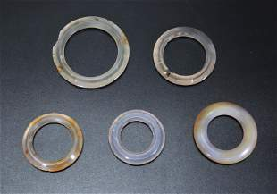 5 Chinese Antique Chalcedony Agate Clothing Rings
