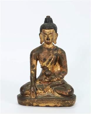 Tibetan 19th C Bronze Seated Healing Buddha