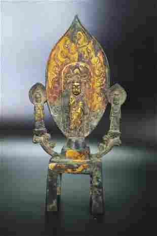Chinese Wei Type Standing Gilt Bronze Buddha