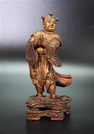 Chinese Qing Dynasty Attendant Gilt Wood Sculpture