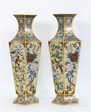 Pair Chinese Gilt Bronze & Cloisonne Hexagon Vases