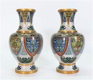 Pair Chinese Gilt Bronze & Cloisonne Taotie Vases