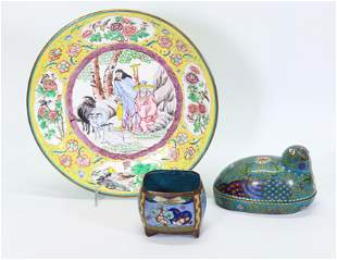 2 Chinese Cloisonne Containers; 1 Canton Plate