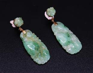 Pr Chinese Qing Apple Green Jadeite 14K Earrings