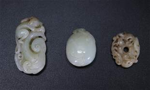 3 Chinese Pale Celadon to Warm White Jade Toggles