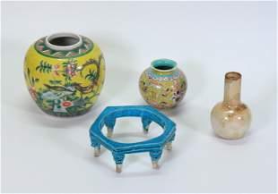 4 Chinese Porcelains; Jar, 2 Vases, Stand