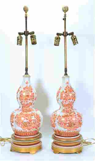 Pr Chinese Porcelain Mid Century Modern Vase Lamps