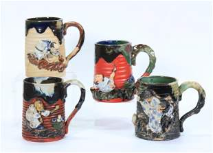 4 Sumida Gawa Ceramic Signed Single Handle Mugs