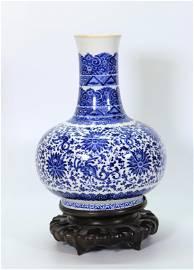 Rare Chinese 18th C Blue & White Porcelain Vase